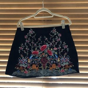 Zara Embroidered Mini Skirt NWT